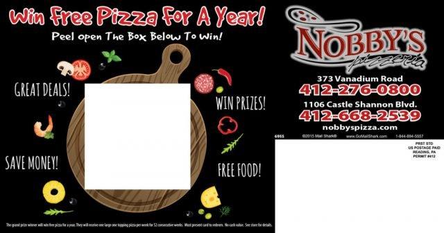 Nobby's Pizzeria Peel-A-Box Postcard